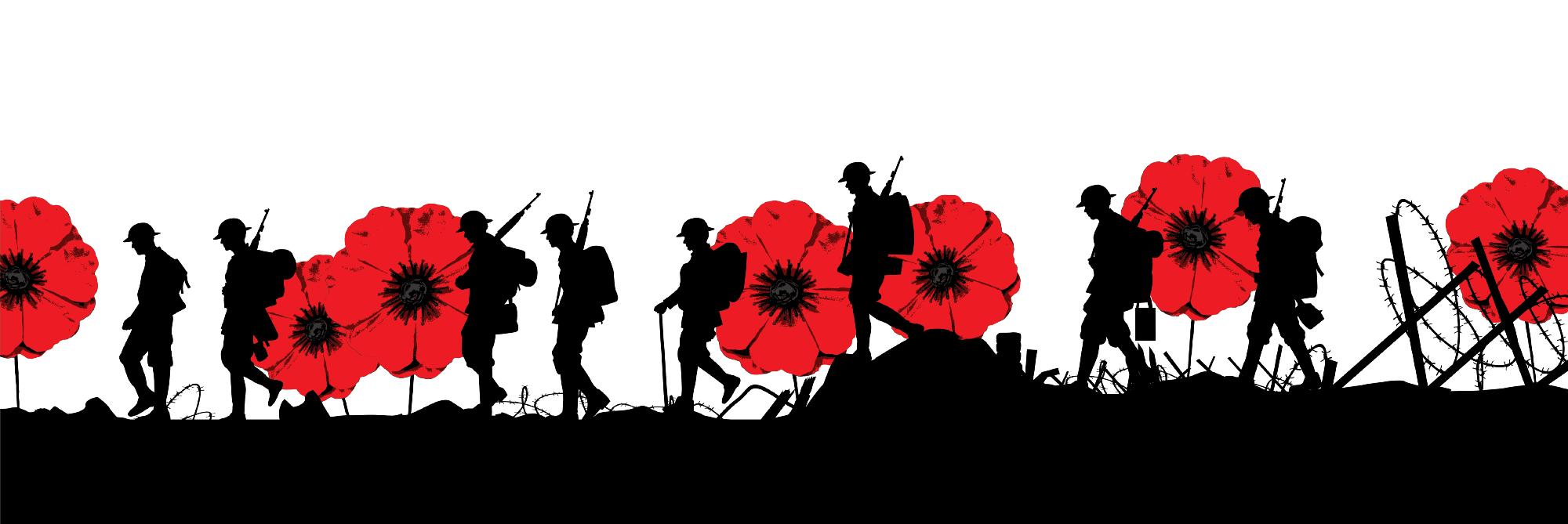 soldiers walking across poppy field